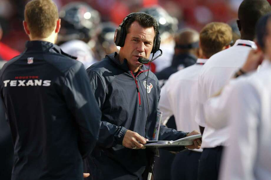 Gary Kubiak, who is in his eighth year as Texans coach, might find his job in jeopardy if his team does not pull out of its downward spiral of losing five games in a row. Photo: Ed Zurga / Associated Press