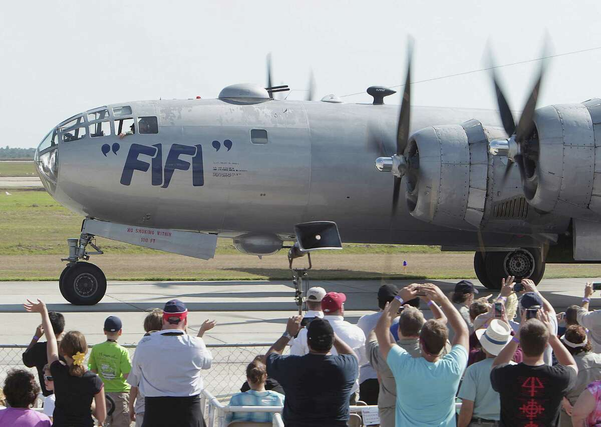 A B-29 airplane taxis in during the Wings Over Houston Airshow at Ellington Airport Saturday, Oct. 26, 2013, in Houston.