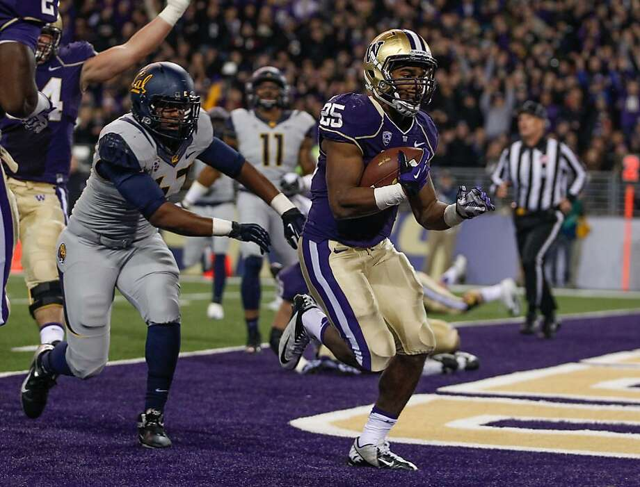 SEATTLE, WA - OCTOBER 26:  Running back Bishop Sankey #25 of the Washington Huskies rushes for a touchdown against the California Golden Bears on October 26, 2013 at Husky Stadium in Seattle, Washington.  (Photo by Otto Greule Jr/Getty Images) Photo: Otto Greule Jr, Getty Images