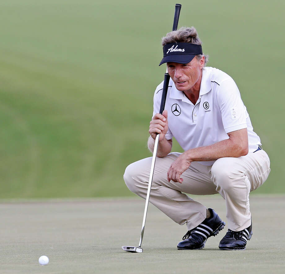 Bernhard Langer lines up a putt on No. 18 during the second round of the AT&T Championship held Saturday Oct. 26, 2013 on the AT&T Canyons Course at TPC San Antonio. Photo: Edward A. Ornelas, San Antonio Express-News / © 2013 San Antonio Express-News