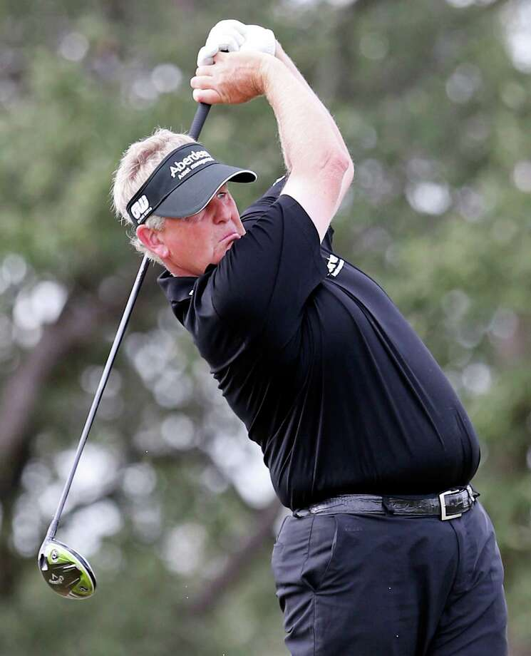 Colin Montgomerie tees off on No. 17 during the second round of the AT&T Championship held Saturday Oct. 26, 2013 on the AT&T Canyons Course at TPC San Antonio. Photo: Edward A. Ornelas, San Antonio Express-News / © 2013 San Antonio Express-News