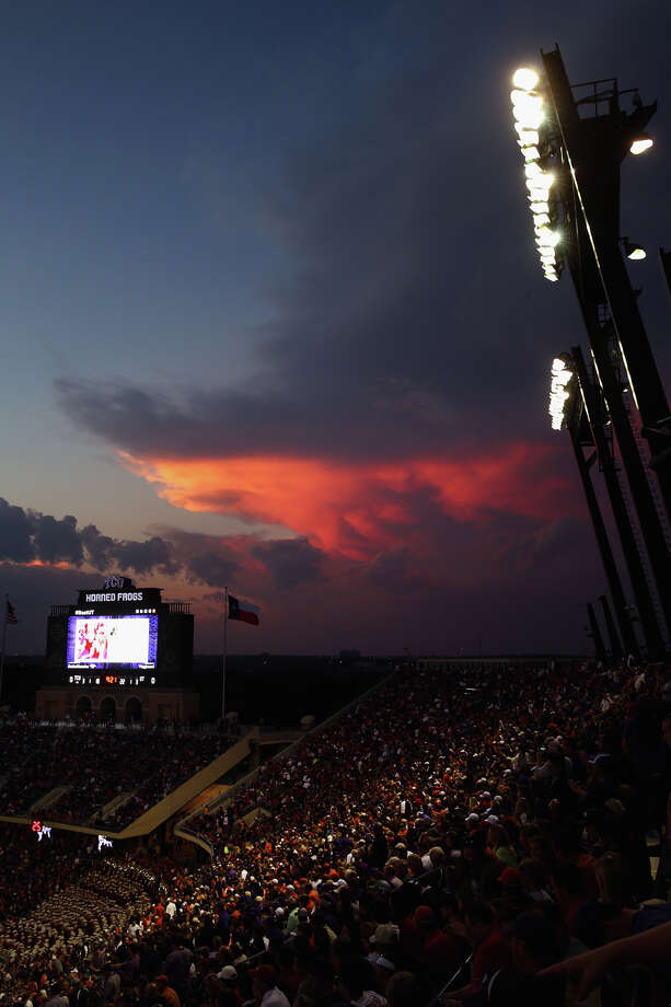 FORT WORTH, TX - OCTOBER 26:  A view of a storm cloud near Amon G. Carter Stadium as the Texas Longhorns take on the TCU Horned Frogs on October 26, 2013 in Fort Worth, Texas. Play was suspended in the second quarter due to lightning in the area. Photo: Tom Pennington, Getty Images / 2013 Getty Images