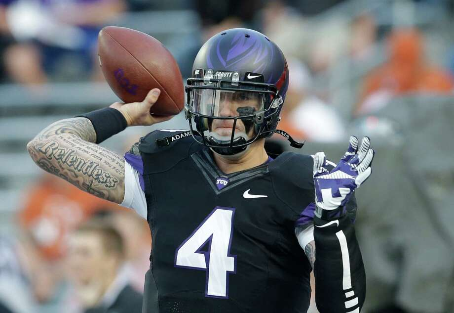 TCU quarterback Casey Pachall (4) warms up before an NCAA college football game against Texas Saturday, Oct. 26, 2013, in Fort Worth, Texas. (AP Photo/LM Otero) Photo: LM Otero, Associated Press / AP