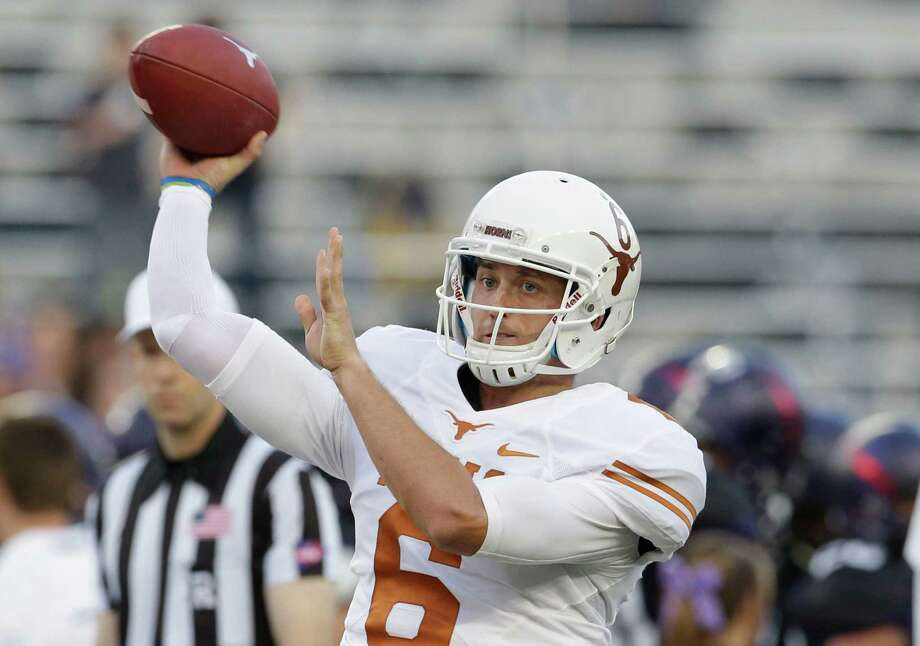 Texas quarterback Case McCoy (6) warms up before an NCAA college football game against TCU Saturday, Oct. 26, 2013, in Fort Worth, Texas. (AP Photo/LM Otero) Photo: LM Otero, Associated Press / AP