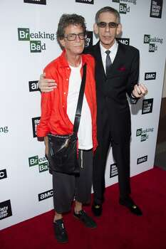 """Lou Reed, left, and Richard Belzer attend the """"Breaking Bad"""" final episodes premiere hosted by the Film Society of Lincoln Center on Wednesday, July 31, 2013, in New York. (Photo by Charles Sykes/Invision/AP) ORG XMIT: NYCS105 Photo: AP"""