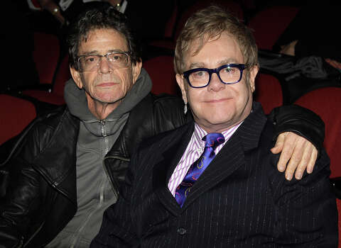 """Lou Reed and Elton John pose at the hit play """"Next Fall"""" on Broadway at The Helen Hayes Theater on March 14, 2010 in New York City. Photo: Bruce Glikas, FilmMagic / 2010 Bruce Glikas"""