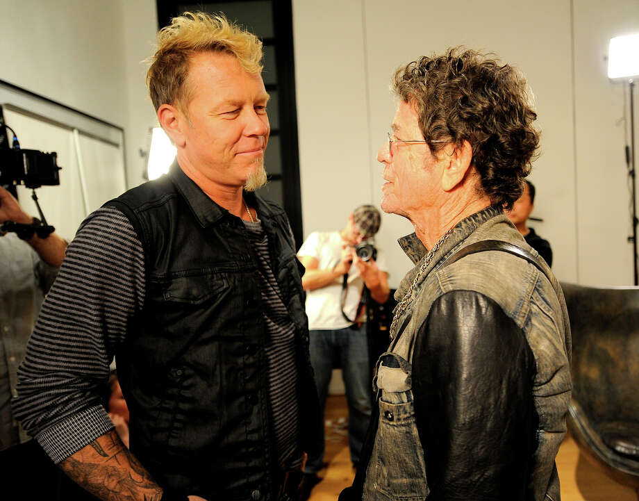 "James Hetfield and Lou Reed attend the Lou Reed and Metallica ""Lulu"" listening party for Bowers & Wilkins Sound Sessions at Steven Kasher Gallery on October 24, 2011 in New York City. Photo: Kevin Mazur, WireImage / 2011 Kevin Mazur"