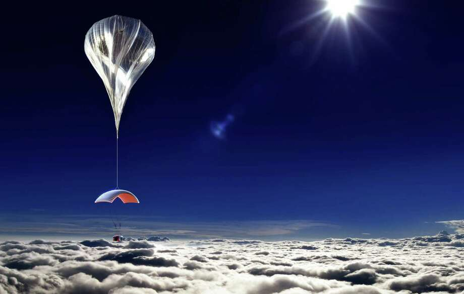This artist's rendering provided by World View Enterprises on Tuesday, Oct. 22, 2013 shows their design for a capsule lifted by a high-altitude balloon up 19 miles into the air for tourists. Company CEO Jane Poynter said people would pay $75,000 to spend a couple hours looking down at the curve of the Earth. Photo: Uncredited, AP / AP2010