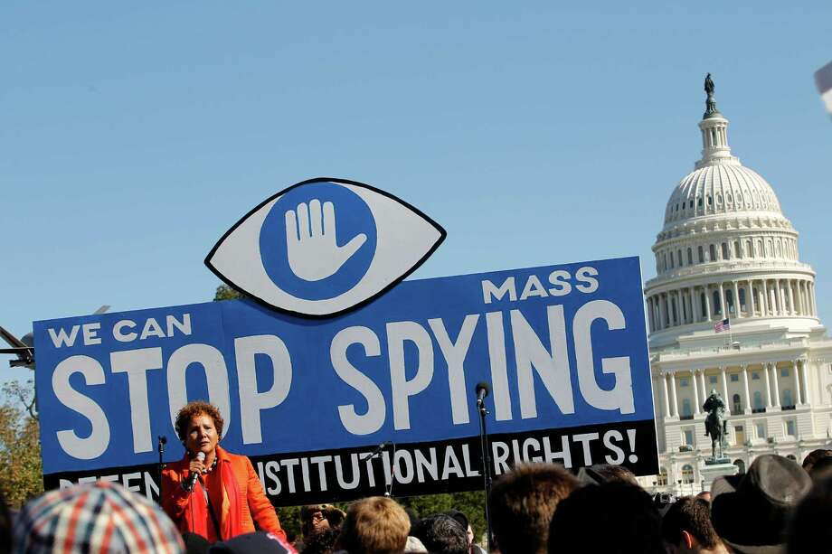 Laura Murphy, Director of the Washington Legislative Office of the American Civil Liberties Union (ACLU), speaks during a rally outside of the U.S. Capitol to demand that Congress investigate the NSA's mass surveillance programs on Saturday, Oct. 26, 2013, in Washington. Photo: Jose Luis Magana, AP / AP2013