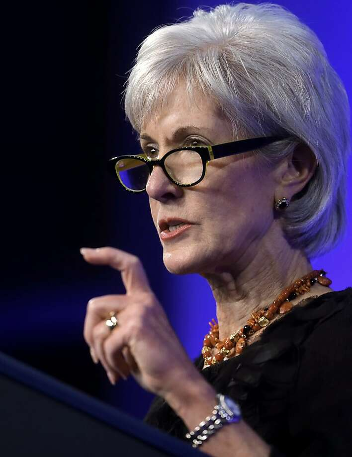 Health and Human Services Secretary Kathleen Sebelius addresses an audience during a forum on mental health policies that marks the 50th anniversary of President John F. Kennedy's signing of the Community Mental Health Act, Wednesday, Oct. 23, 2013, at the JFK Library and Museum in Boston. (AP Photo/Steven Senne) Photo: Steven Senne, Associated Press