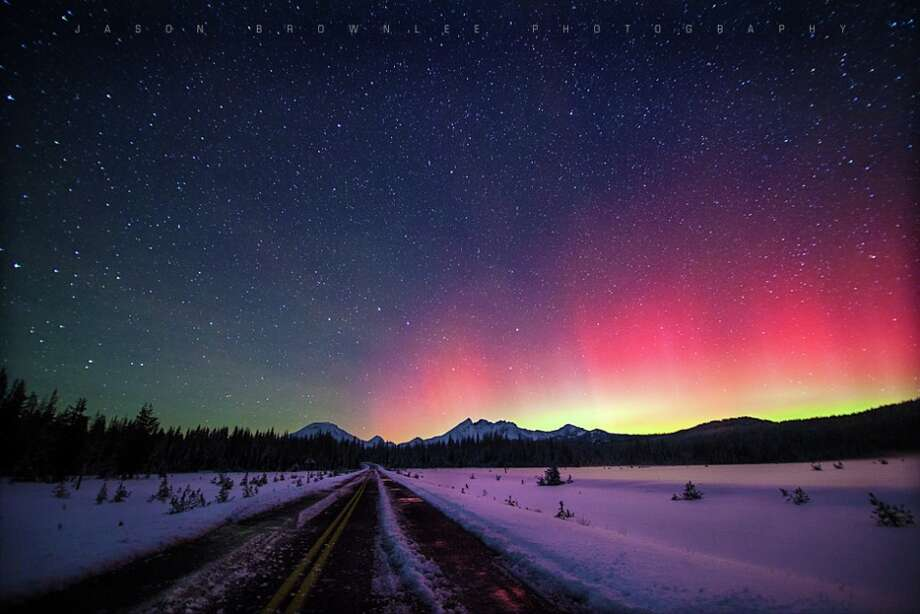 This aurora image was taken by Jason Brownlee on October 1, 2013 in the Central Oregon Cascade Mountains. Image Courtesy of Jason Brownlee.