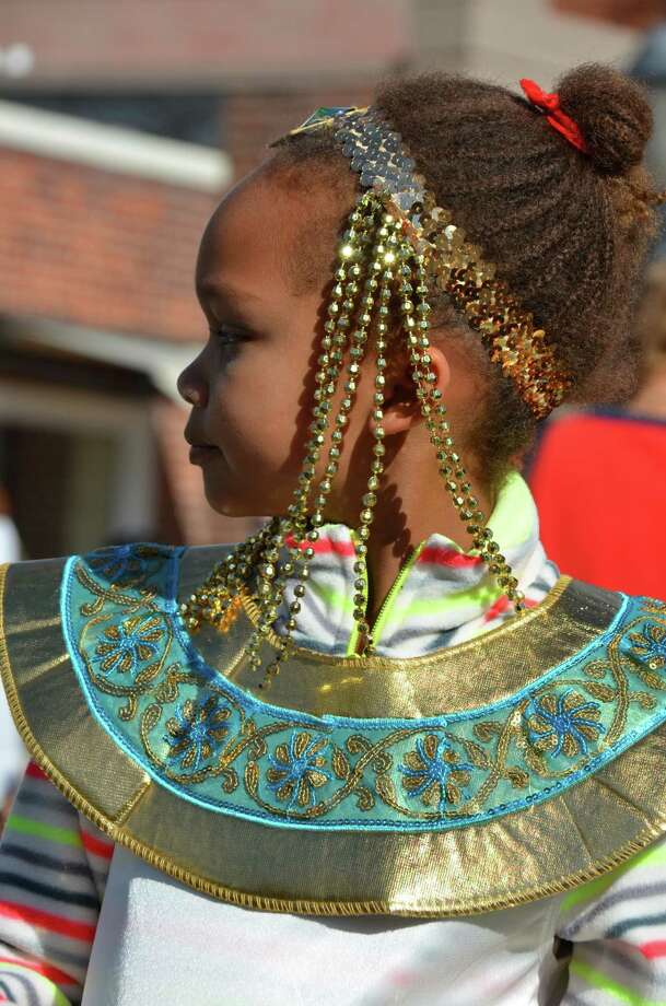 Chloe Oyekanmi, a goddess for the day, at the New Canaan Chamber of Commerce's 32nd Annual Halloween Parade on Sunday, Oct. 27, 2013. Photo: Jeanna Petersen Shepard / New Canaan News Freelance