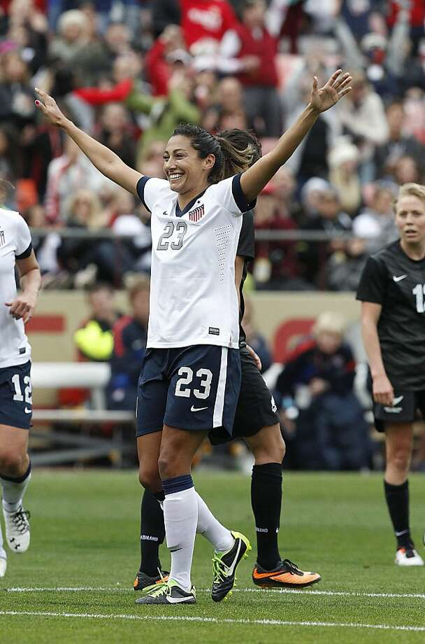 Former Stanford player Christen Press celebrates her goal in the 42nd minute for the United States. Photo: Tony Avelar, Associated Press