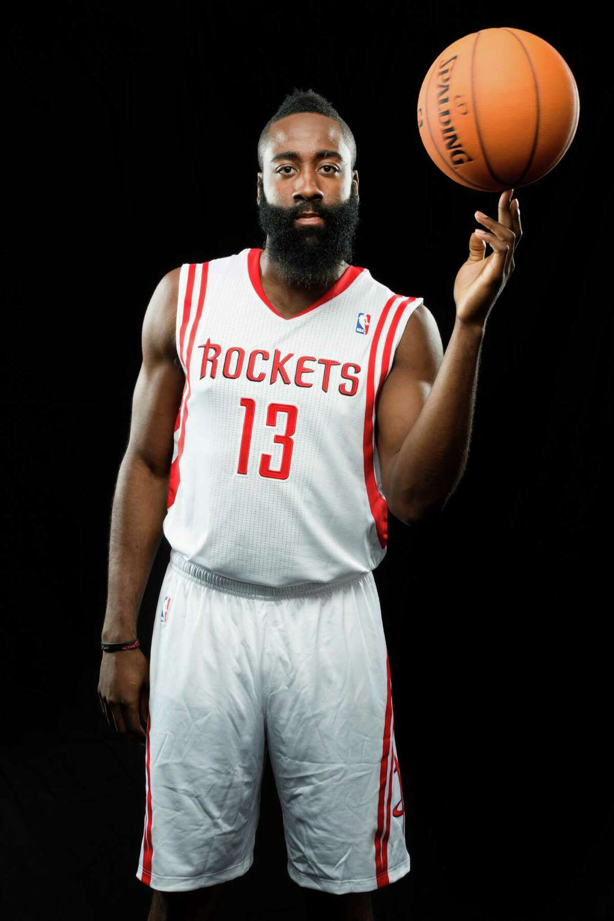 Houston Rockets shooting guard James Harden during media day at Toyota Center on Friday, Sept. 27, 2013, in Houston. ( Smiley N. Pool / Houston Chronicle )