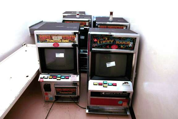 Seized eight-liner machines from game rooms, line the walls of the old Harris County jail at 1301 Franklin in Houston.