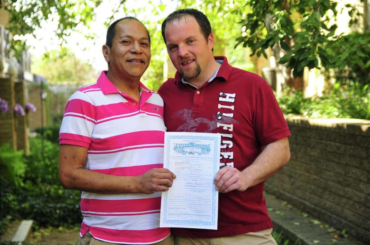 Darren Black Bear, left, and Jason Pickel will marry legally under Native American tribal jurisdiction.