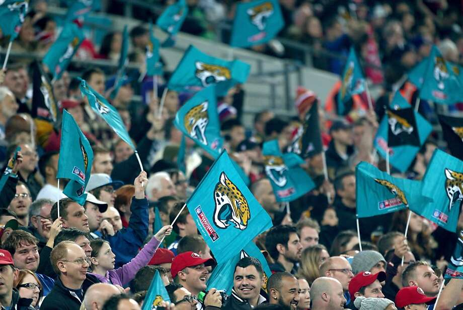 Each fan at Wembley Stadium received a Jaguars flag. The team did little to merit any waving of those flags. Photo: Charlie Crowhurst, Getty Images