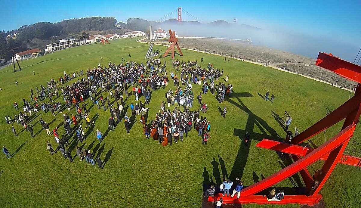 An aerial of the Airfield Broadcast performance in San Francisco, CA Saturday, October 26, 2013. Airfield Broadcast is an hour long
