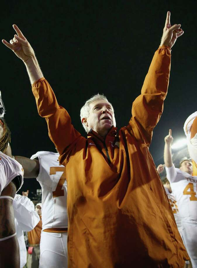 Texas coach Mack Brown enjoys an easy victory over TCU in Fort Worth. Once headed toward another mediocre season, the Longhorns have won four straight behind an improved defense. Photo: Tom Pennington / Getty Images