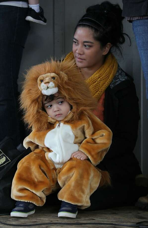 Now, remember to roar: Hunter Knight checks out the competition while on stage with his mother, Kaila, during a costume contest at the Olympia Farmers Market in Olympia, Wash. Photo: Steve Bloom, Associated Press