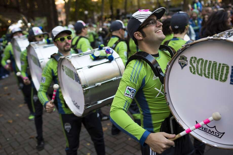 The Sounders FC band, Sound Wave, performs for fans before the final game of the regular season against the LA Galaxy Sunday in Occidental Park in Seattle. (Jordan Stead, seattlepi.com) Photo: JORDAN STEAD, SEATTLEPI.COM