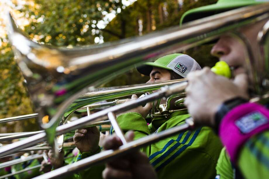 The Sounders FC band, Sound Wave, perform for fans before the final game of the regular season against the LA Galaxy on Sunday. (Jordan Stead, seattlepi.com) Photo: JORDAN STEAD, SEATTLEPI.COM