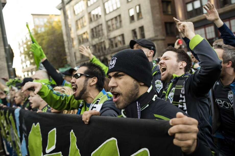 """Sounders FC fans take part in the traditional """"March to Match"""" before the final game of the regular season against the LA Galaxy on Sunday. (Jordan Stead, seattlepi.com) Photo: JORDAN STEAD, SEATTLEPI.COM"""