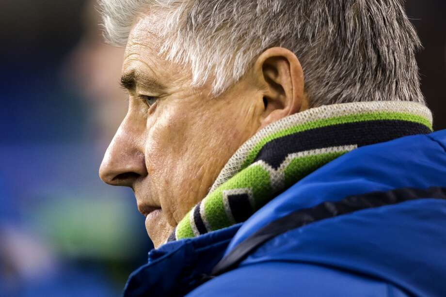 Head coach Sigi Schmid watches the field before a Sounders FC match against the LA Galaxy on Sunday. The game ended in a 1-1 tie. (Jordan Stead, seattlepi.com) Photo: JORDAN STEAD, SEATTLEPI.COM