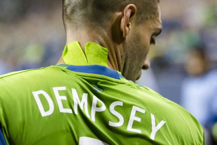 Clint Dempsey walks onto the field Sunday.  (Jordan Stead, seattlepi.com) Photo: JORDAN STEAD, SEATTLEPI.COM