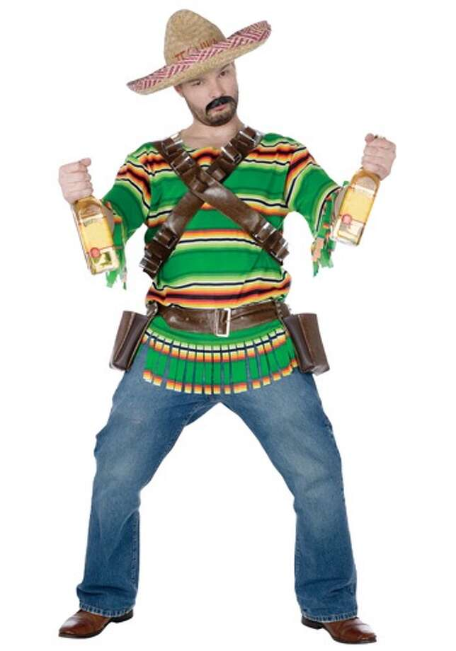 This costume, complete with bottle holsters,blanket shirt and sombrero, is another example of the offensive stereotyping of Mexican people. Photo: Photo From Halloweencostumes.com.