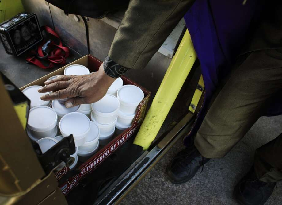 King Kobbler checks on his reserves supply of cobbler on Bryant Street in San Francisco, Calif. Photo: Mike Kepka, The Chronicle