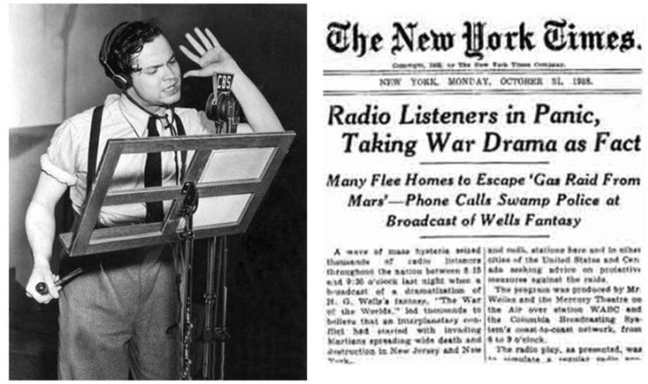 The New York Times coverage of Orson Welles' radio broadcast, published Oct. 31, 1938.