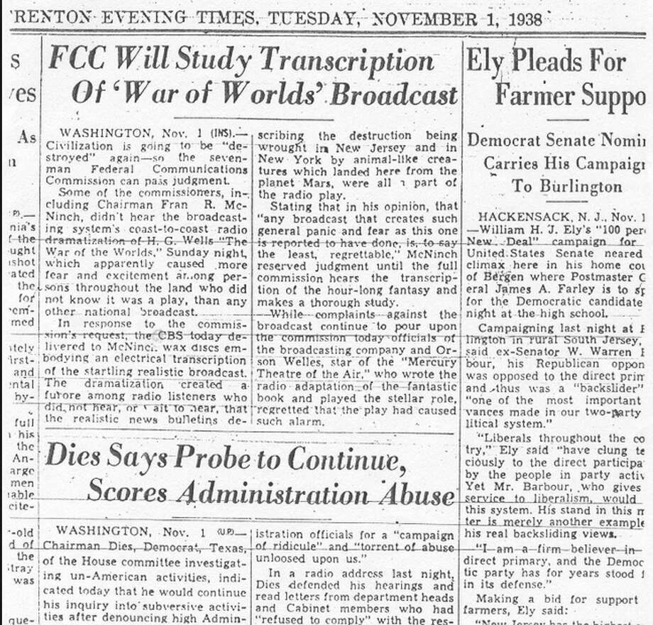Uh-oh. A day after the broadcast, the Federal Communications Commission begins its investigation. CBS delivered 'wax discs embodying an electrical transmission of the startling realistic broadcast,' according to the Trenton Evening Times on Nov. 1, 1938.