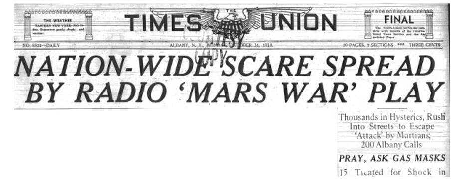 The front page of Albany's Times-Union on Oct. 31, 1938.