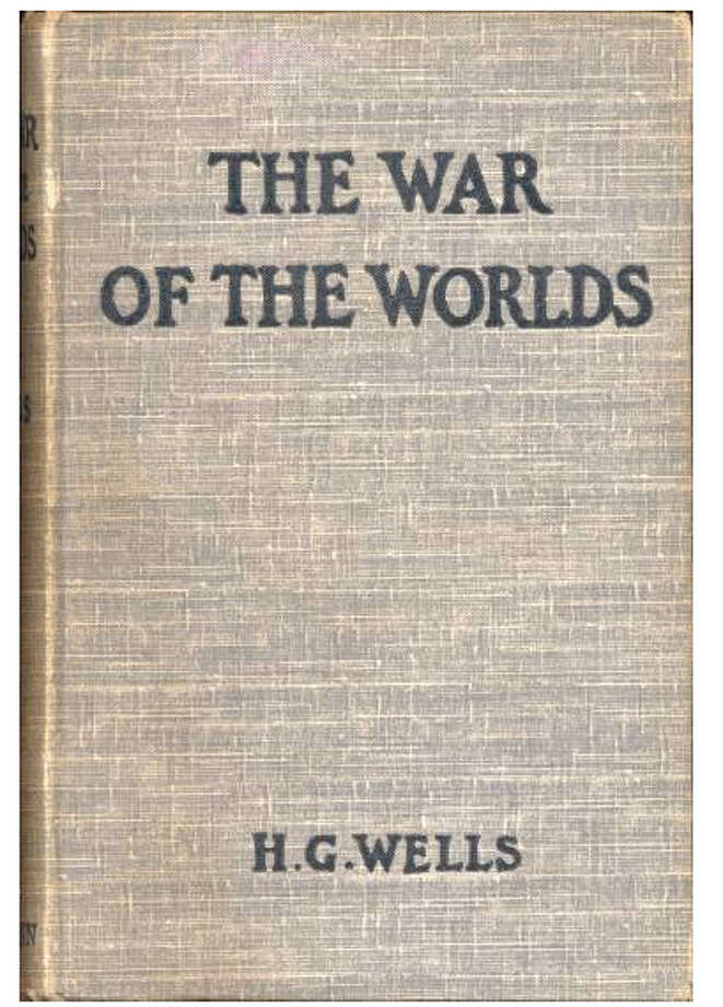 The first edition cover of H G Wells' War of the Worlds, first published in 1898.