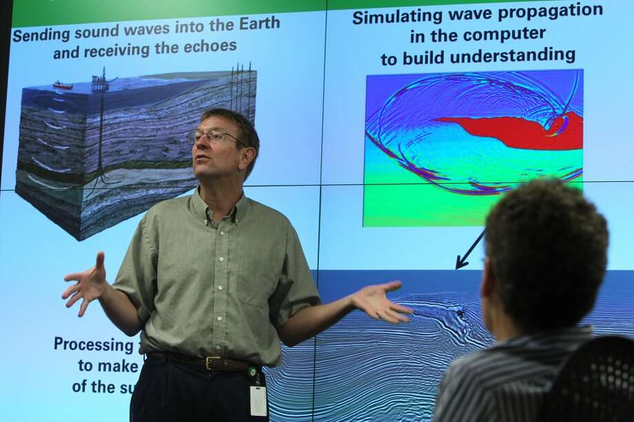 John Etgen, distinguished advisor for seismic imaging at BP, discusses seismic imaging results. Breakthroughs in seismic imaging have helped oil companies understand and pursue vast new resources. Photo: Mayra Beltran, Houston Chronicle