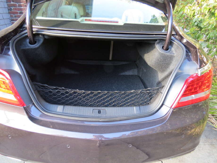 Trunk space is 13.3 cubic feet, a bit small for cars of this class.