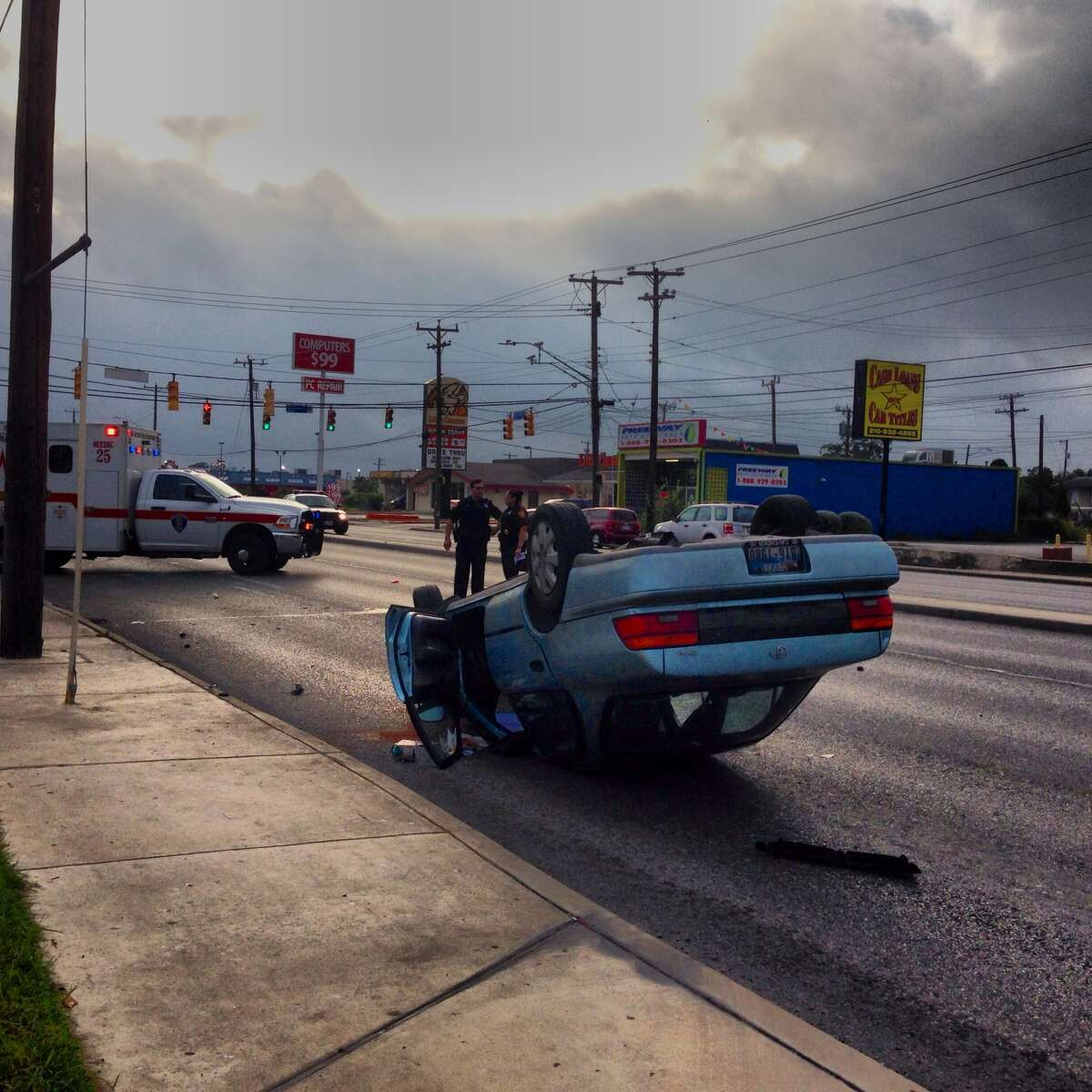 Police said a 24-year-old woman driving a Toyota Corolla clipped a pickup truck at the corner of Northwest Military and Boswell as it was turning into the Whataburger driveway around 7:45 a.m., forcing her car to flip over.