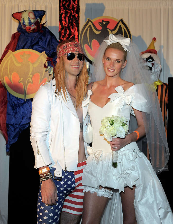 (L-R) Musician Adam Levine and model Anne V attend Bacardi and Maroon 5's Annual Halloween Bash held at Hollywood Forever Cemetary on October 31, 2011 in Hollywood, California. Photo: Charley Gallay, WireImage / 2011 WireImage
