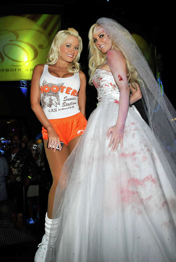 Television personalities Holly Madison (L) and Bridget Marquardt, both dressed in costumes attend the Halfway to Halloween party at the Eve nightclub at Crystals at CityCenter April 24, 2010 in Las Vegas. Photo: David Becker, WireImage / WireImage