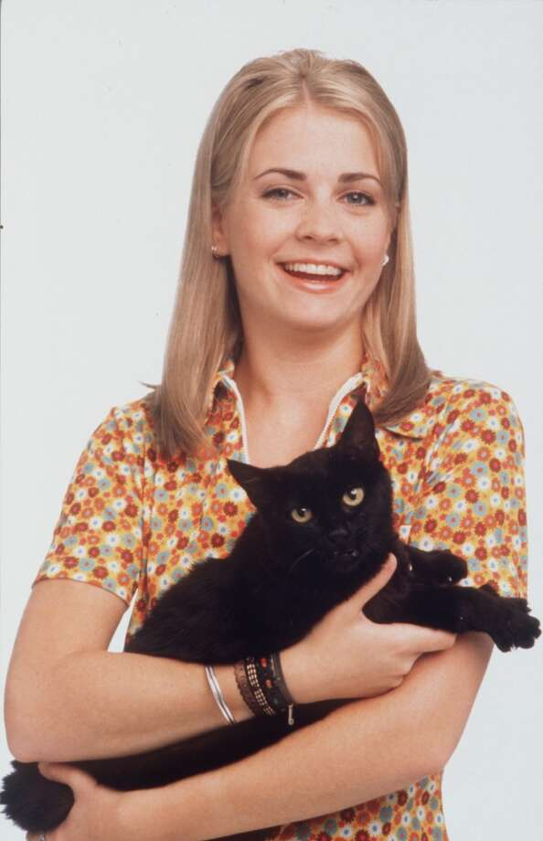 "Melissa Joan Hart with a black talking cat on ""Sabrina the Teenage Witch."" Photo: George Lange, ABC C1996"
