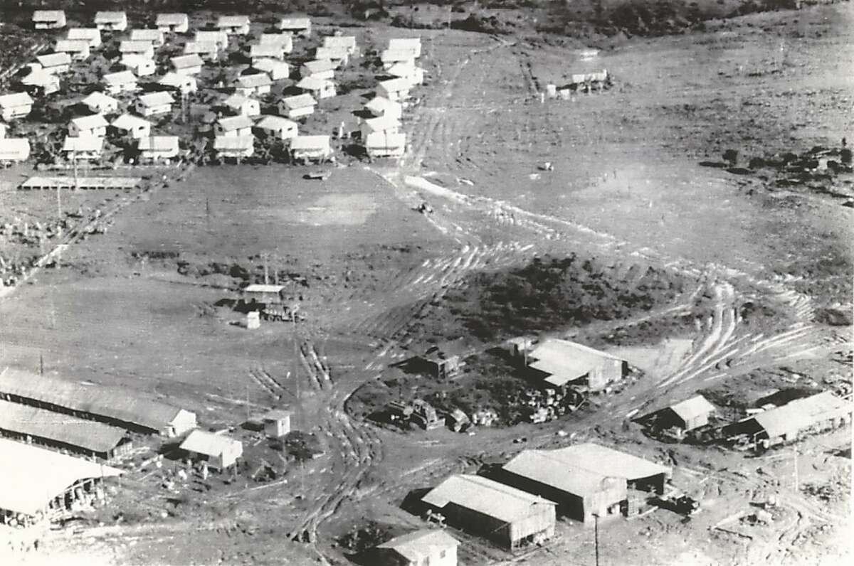 This aerial view of the Jonestown commune shows the layout of the buildings that made up the settlement whose members died in a mass suicide-murder. This photo was made on November 27, 1978, after the bodies had been removed.