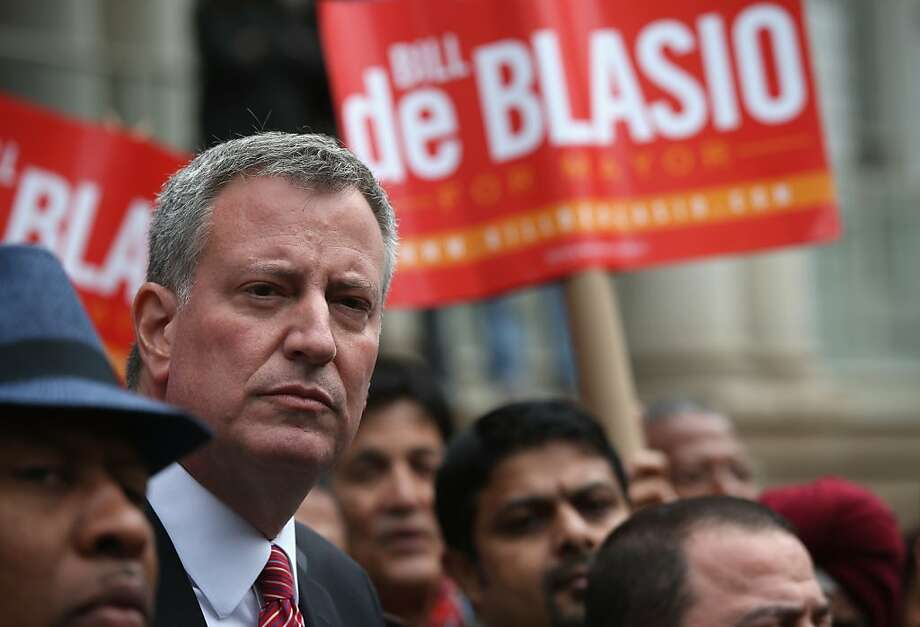 "New York City mayoral candidate Bill de Blasio says inequality is not a ""necessary byproduct"" of success. Photo: John Moore, Getty Images"