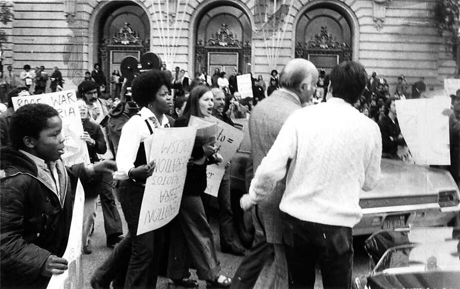 It was a reign of terror that shocked the city: From the autumn of 1973 until the spring of 1974, San Francisco wasn't safe at night while the Zebra killers stalked the streets.Named after the Z radio channel that police used to communicate about the case, the Zebra murders claimed the lives of 14 people. The killers, Jesse Lee Cooks, Manuel Moore, Larry Green and J.C. Simon, were all African Americans targeting whites allegedly in the hopes of igniting a race war.In a panic, San Francisco Mayor Joseph Alioto (seen here followed by angry protestors) authorized the police to stop any black male who generally met the descriptions of the killers. Hundreds of innocent men were questioned before a federal judge put a stop to the practice.The break in the case came when the city put up a $30,000 reward. A man came forward with information that linked seven men to the killings. Cooks, Moore, Green and Simon were eventually sentenced to life in prison for their role in the murders. Earlier this year, Cooks was denied release by the state parole board. Photo: Susan Ehmer, Sfc
