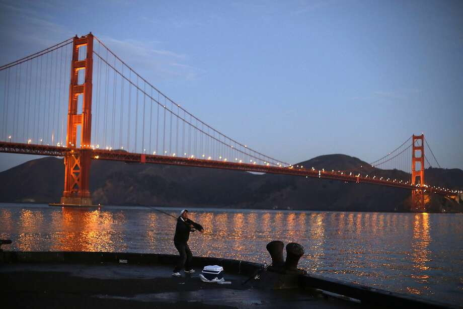 It takes a devoted angler to get up before dawn to fish the Golden Gate. Photo: Eric Risberg, Associated Press