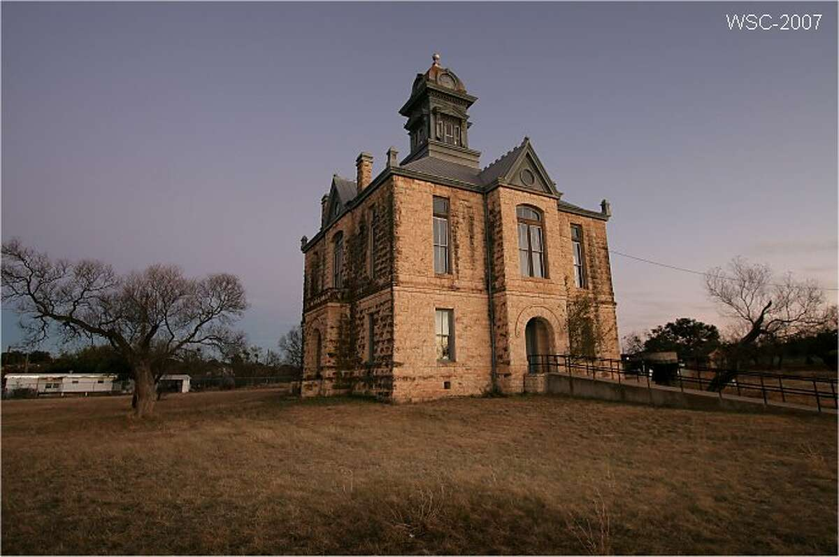 Located in Irion County, southwest of San Angelo, Sherwood is now a small rural community but used to be the county seat. When Mertzon was named the new county seat, Sherwood's courthouse (pictured) was abandoned in 1939. Source: Texas State Historical Association