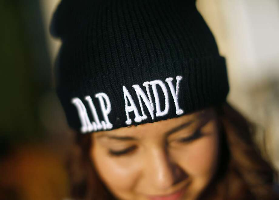 Esmeralda Mendoza wears a beanie honoring Andy Lopez Cruz, who was carrying a pellet gun when he was shot by a deputy. Photo: Conner Jay, Associated Press