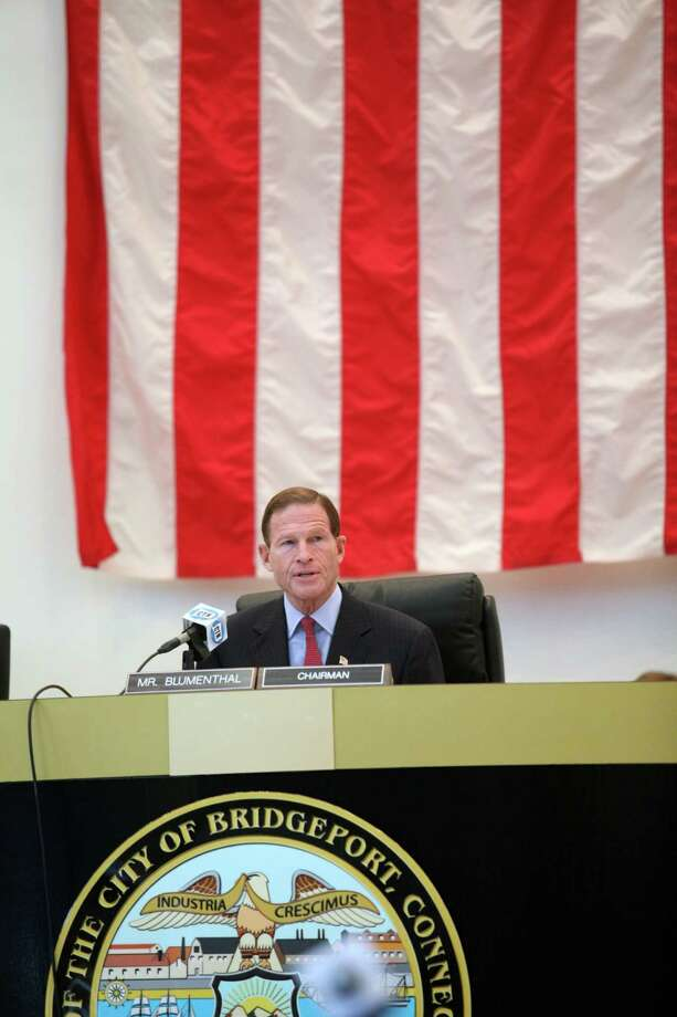 U.S. Sen. Richard Blumenthal chairs a hearing on the September Metro North power outage at Bridgeport City Hall on Monday, Oct. 28, 2013. Photo: BK Angeletti, B.K. Angeletti / Connecticut Post freelance B.K. Angeletti