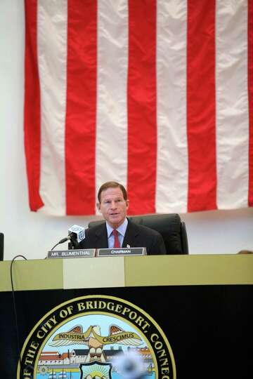 U.S. Sen. Richard Blumenthal chairs a hearing on the September Metro North power outage at Bridge