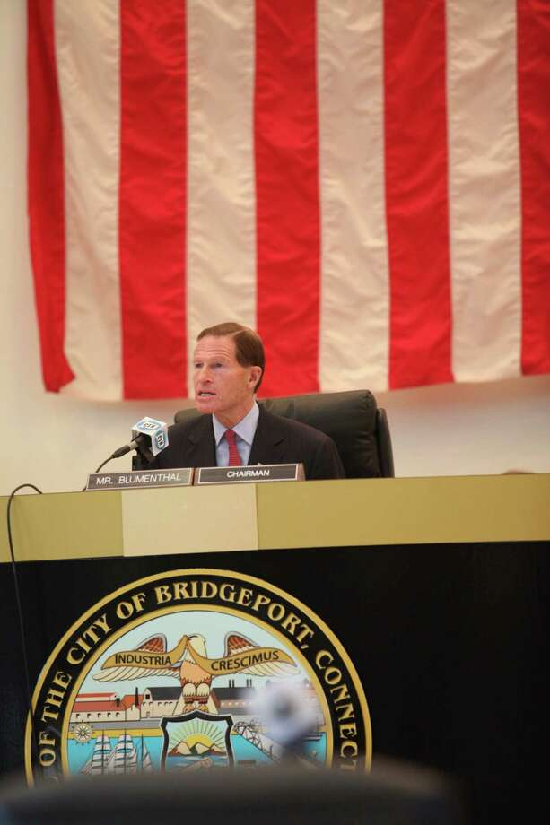 U.S. Sen. Richard Blumenthal chairs a hearing on the September Metro North power outage at Bridgeport City Hall on Monday, Oct. 28, 2013. Photo: BK Angeletti, B.K. Angeletti / Connecticut Post freelance B.K. Angeletti